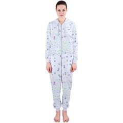 Spot Polka Dots Blue Pink Sexy Hooded Jumpsuit (ladies)