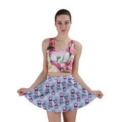 Pattern Kitty Headphones  Mini Skirt