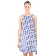 Pattern Kitty Headphones  Halter Collar Waist Tie Chiffon Dress