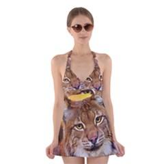 Tiger Beetle Lion Tiger Animals Halter Swimsuit Dress