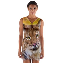 Tiger Beetle Lion Tiger Animals Wrap Front Bodycon Dress