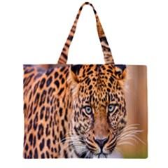 Tiger Beetle Lion Tiger Animals Leopard Zipper Large Tote Bag