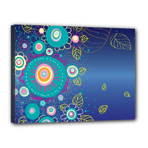 Flower Blue Floral Sunflower Star Polka Dots Sexy Canvas 16  X 12