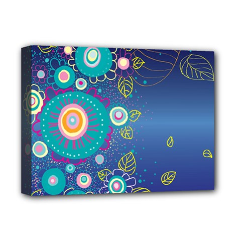 Flower Blue Floral Sunflower Star Polka Dots Sexy Deluxe Canvas 16  X 12