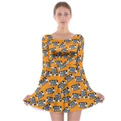 Pattern Halloween Wearing Costume Icreate Long Sleeve Skater Dress