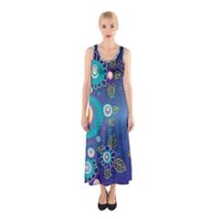 Flower Blue Floral Sunflower Star Polka Dots Sexy Sleeveless Maxi Dress