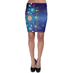 Flower Blue Floral Sunflower Star Polka Dots Sexy Bodycon Skirt