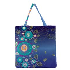 Flower Blue Floral Sunflower Star Polka Dots Sexy Grocery Tote Bag