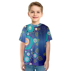 Flower Blue Floral Sunflower Star Polka Dots Sexy Kids  Sport Mesh Tee