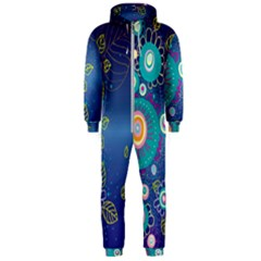 Flower Blue Floral Sunflower Star Polka Dots Sexy Hooded Jumpsuit (men)