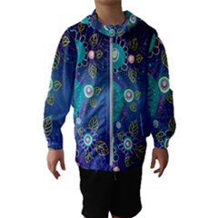 Flower Blue Floral Sunflower Star Polka Dots Sexy Hooded Wind Breaker (kids)