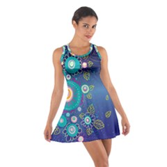 Flower Blue Floral Sunflower Star Polka Dots Sexy Cotton Racerback Dress
