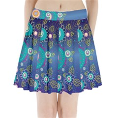 Flower Blue Floral Sunflower Star Polka Dots Sexy Pleated Mini Skirt