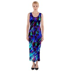 Dark Neon Stuff Blue Red Black Rainbow Light Fitted Maxi Dress