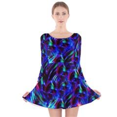 Dark Neon Stuff Blue Red Black Rainbow Light Long Sleeve Velvet Skater Dress