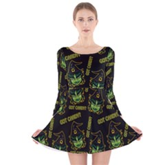 Pattern Halloween Witch Got Candy? Icreate Long Sleeve Velvet Skater Dress