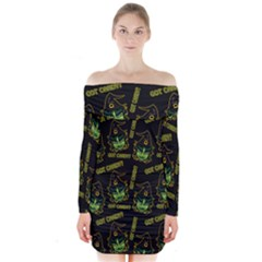 Pattern Halloween Witch Got Candy? Icreate Long Sleeve Off Shoulder Dress
