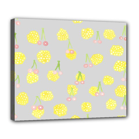 Cute Fruit Cerry Yellow Green Pink Deluxe Canvas 24  X 20