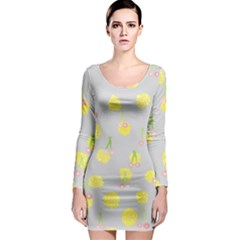 Cute Fruit Cerry Yellow Green Pink Long Sleeve Bodycon Dress