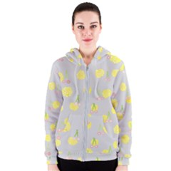 Cute Fruit Cerry Yellow Green Pink Women s Zipper Hoodie