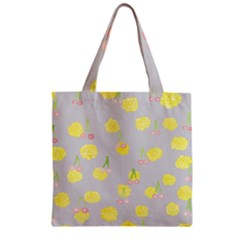 Cute Fruit Cerry Yellow Green Pink Zipper Grocery Tote Bag