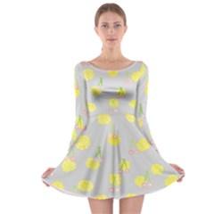 Cute Fruit Cerry Yellow Green Pink Long Sleeve Skater Dress