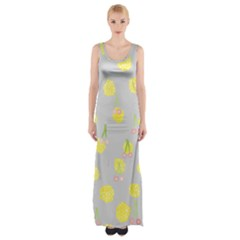 Cute Fruit Cerry Yellow Green Pink Maxi Thigh Split Dress