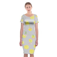 Cute Fruit Cerry Yellow Green Pink Classic Short Sleeve Midi Dress