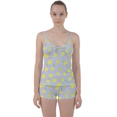 Cute Fruit Cerry Yellow Green Pink Tie Front Two Piece Tankini