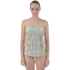 Cute Fruit Cerry Yellow Green Pink Twist Front Tankini Set