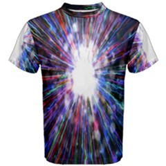 Seamless Animation Of Abstract Colorful Laser Light And Fireworks Rainbow Men s Cotton Tee