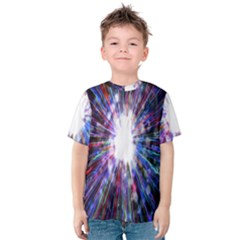 Seamless Animation Of Abstract Colorful Laser Light And Fireworks Rainbow Kids  Cotton Tee