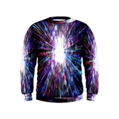 Seamless Animation Of Abstract Colorful Laser Light And Fireworks Rainbow Kids  Sweatshirt