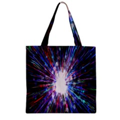 Seamless Animation Of Abstract Colorful Laser Light And Fireworks Rainbow Zipper Grocery Tote Bag