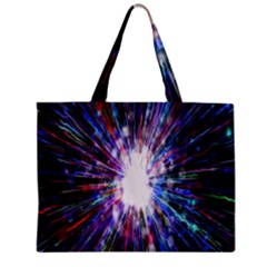 Seamless Animation Of Abstract Colorful Laser Light And Fireworks Rainbow Zipper Mini Tote Bag