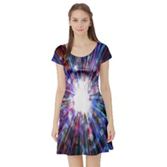 Seamless Animation Of Abstract Colorful Laser Light And Fireworks Rainbow Short Sleeve Skater Dress