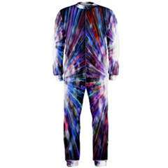 Seamless Animation Of Abstract Colorful Laser Light And Fireworks Rainbow Onepiece Jumpsuit (men)