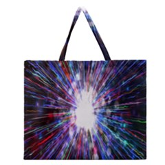 Seamless Animation Of Abstract Colorful Laser Light And Fireworks Rainbow Zipper Large Tote Bag