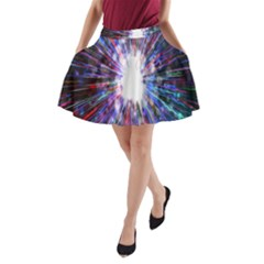 Seamless Animation Of Abstract Colorful Laser Light And Fireworks Rainbow A Line Pocket Skirt