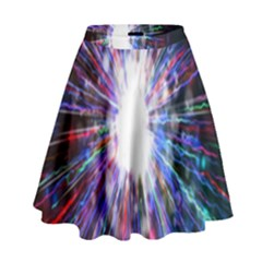 Seamless Animation Of Abstract Colorful Laser Light And Fireworks Rainbow High Waist Skirt