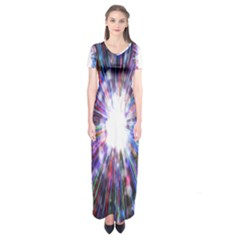 Seamless Animation Of Abstract Colorful Laser Light And Fireworks Rainbow Short Sleeve Maxi Dress