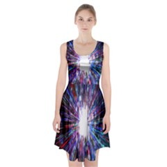 Seamless Animation Of Abstract Colorful Laser Light And Fireworks Rainbow Racerback Midi Dress