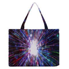Seamless Animation Of Abstract Colorful Laser Light And Fireworks Rainbow Zipper Medium Tote Bag