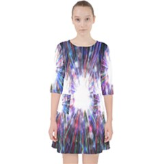 Seamless Animation Of Abstract Colorful Laser Light And Fireworks Rainbow Pocket Dress