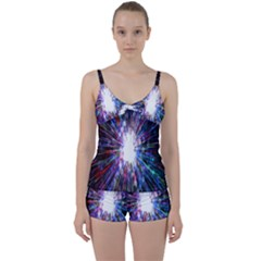 Seamless Animation Of Abstract Colorful Laser Light And Fireworks Rainbow Tie Front Two Piece Tankini