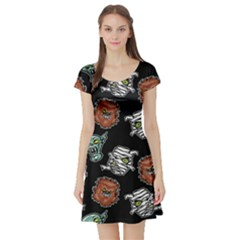 Pattern Halloween Werewolf Mummy Vampire Icreate Short Sleeve Skater Dress