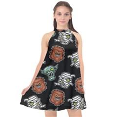 Pattern Halloween Werewolf Mummy Vampire Icreate Halter Neckline Chiffon Dress