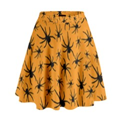 Pattern Halloween Black Spider Icreate High Waist Skirt