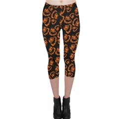 Pattern Halloween Jackolantern Capri Leggings