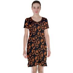 Pattern Halloween Jackolantern Short Sleeve Nightdress